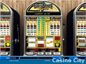 Black and White Gold 1 Line Progressive Jackpot Slot
